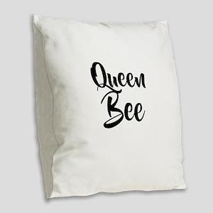 Queen Bee Burlap Throw Pillow