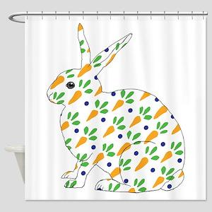 Carrot Calico Rabbit Shower Curtain