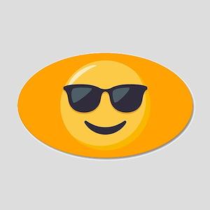 Sunglasses Emoji 20x12 Oval Wall Decal
