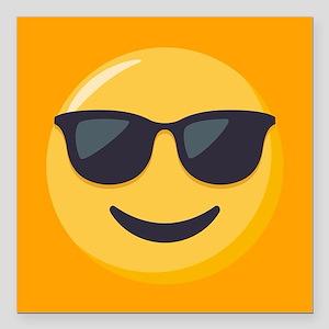 "Sunglasses Emoji Square Car Magnet 3"" x 3"""