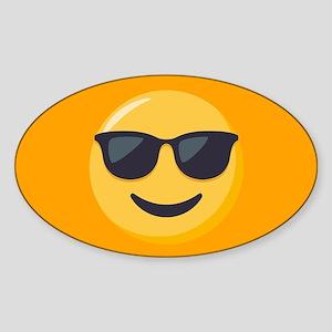 Sunglasses Emoji Sticker (Oval)