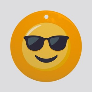 Sunglasses Emoji Round Ornament