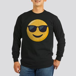 Sunglasses Emoji Long Sleeve Dark T-Shirt