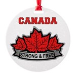 Canadian Pride STRONG & FREE Round Ornament