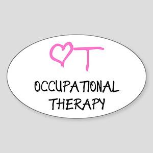 OT Pink Heart Oval Sticker