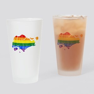 Singapore Rainbow Pride Flag And Map Drinking Glas