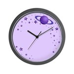 Planet with Stars Wall Clock