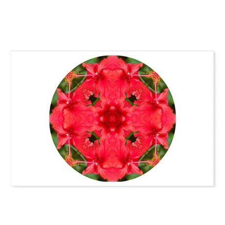 Red Hibiscus Mandala Postcards (Package of 8)