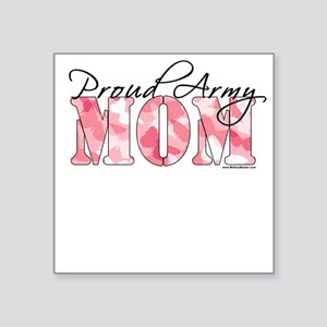 Proud Army Mom (Pink Butterfly Camo) Square Sticke