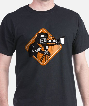 film crew cameraman shooting filming camera T-Shirt