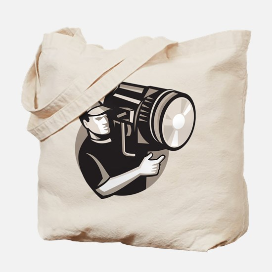 film crew with spotlight fresnel light Tote Bag