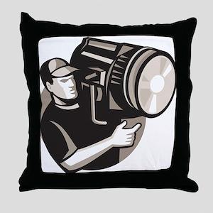 film crew with spotlight fresnel light Throw Pillo