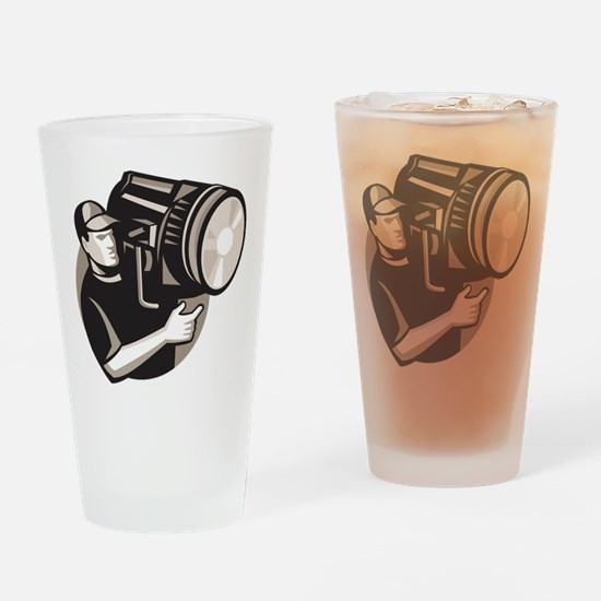 film crew with spotlight fresnel light Drinking Gl