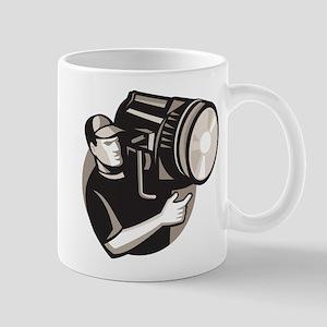 film crew with spotlight fresnel light Mug