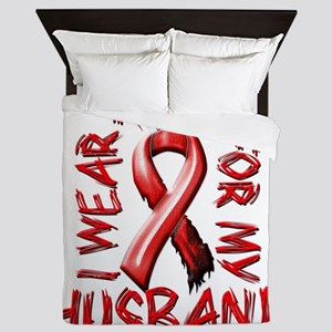 I Wear Red for my Husband Queen Duvet