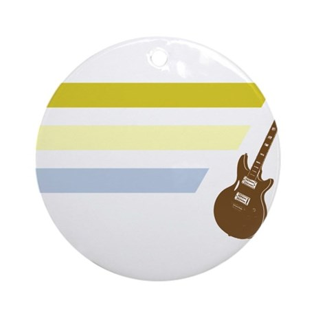 Old School Guitar Ornament (Round)