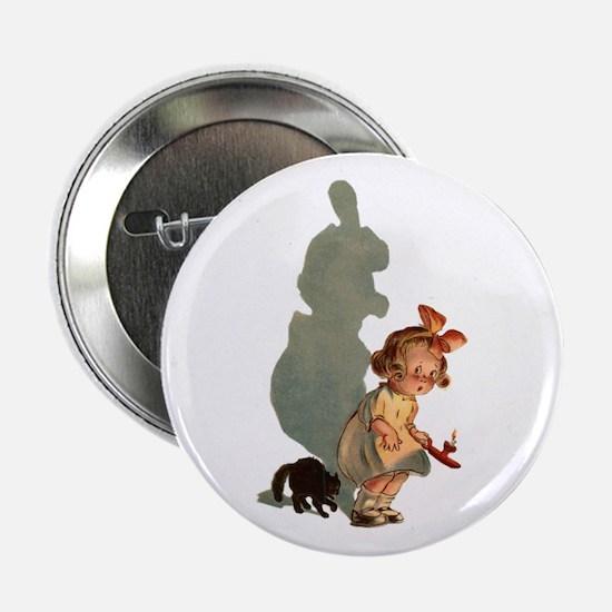 "Cute Vintage halloween cat 2.25"" Button (10 pack)"