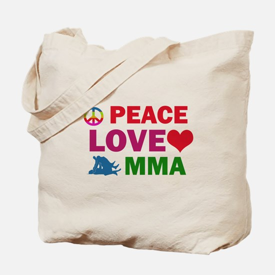Peace Love MMA Designs Tote Bag