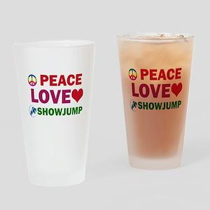 Peace Love Showjump Designs Drinking Glass