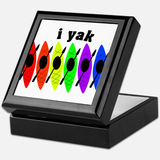 kayak rainbow i yak.PNG Keepsake Box