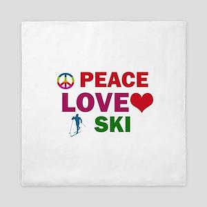 Peace Love Ski Designs Queen Duvet