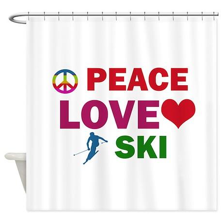 Peace Love Ski Designs Shower Curtain