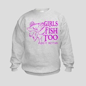 GIRLS FISH TOO WALLEYE Kids Sweatshirt