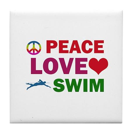 Peace Love Swim Designs Tile Coaster