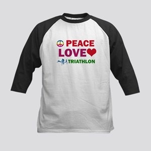 Peace Love Triathlon Designs Kids Baseball Jersey