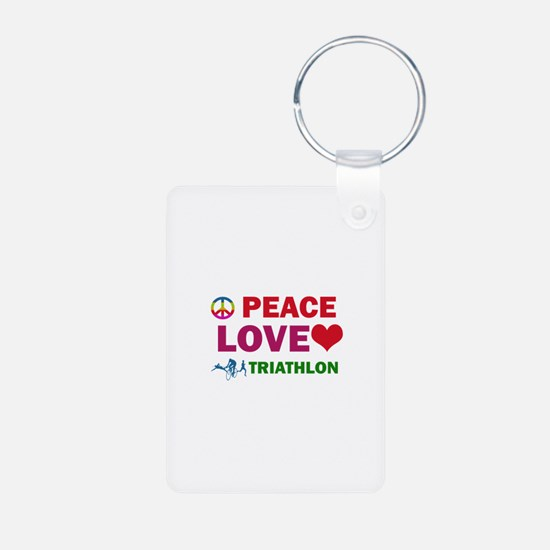 Peace Love Triathlon Designs Keychains