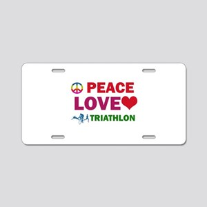 Peace Love Triathlon Designs Aluminum License Plat