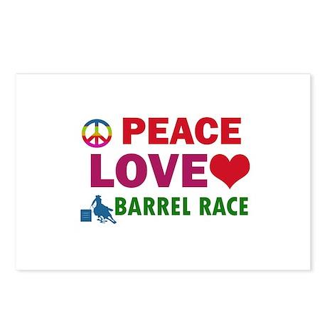 Peace Love Barrel Race Designs Postcards (Package