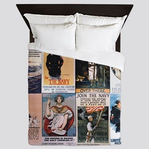 WWI Navy Posters Queen Duvet