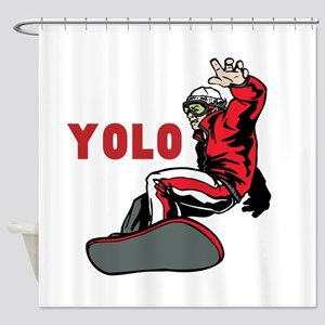 Yolo Snowboarding Shower Curtain