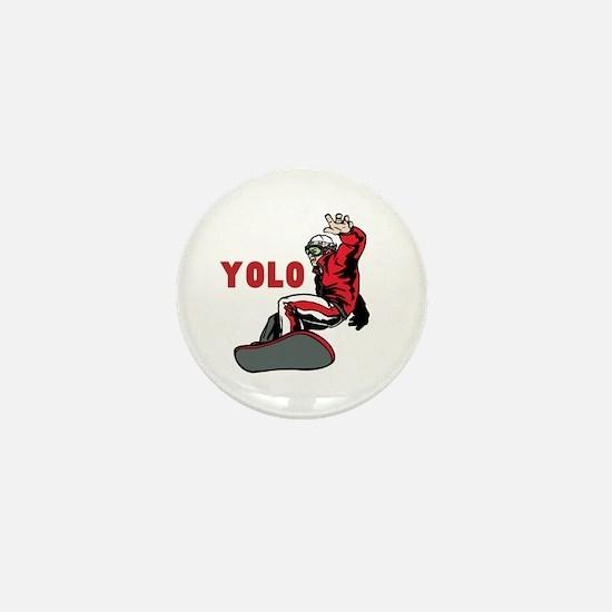 Yolo Snowboarding Mini Button
