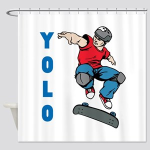 Yolo Skateboarding Shower Curtain