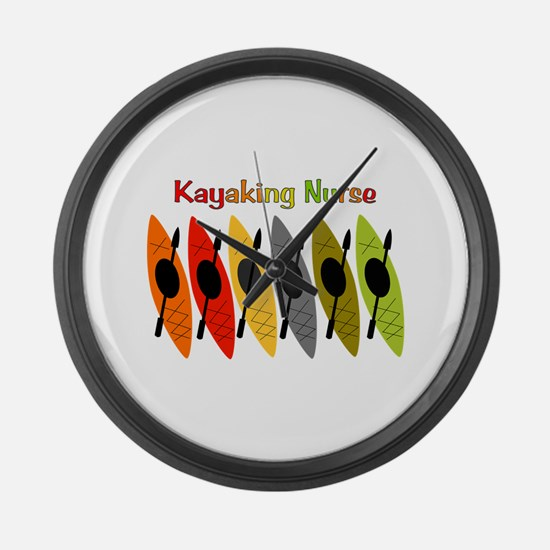 Kayaking Nurse.PNG Large Wall Clock