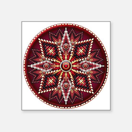 """Native American Rosette 14 Square Sticker 3"""" x 3"""""""