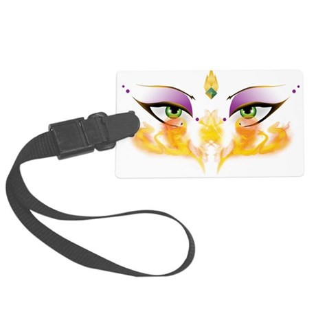 shimmychicFIERYeyes_PNG.png Large Luggage Tag