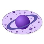 Planet with Stars Oval Sticker