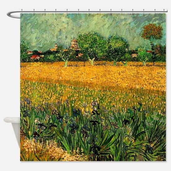 Van Gogh View of Arles with Irises Shower Curtain