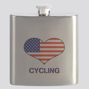 LOVE CYCLING STARS AND STRIPES Flask