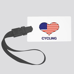 LOVE CYCLING STARS AND STRIPES Large Luggage Tag