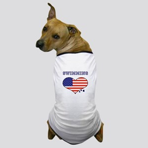 I LOVE SWIMMING THE STARS AND STRIPES Dog T-Shirt