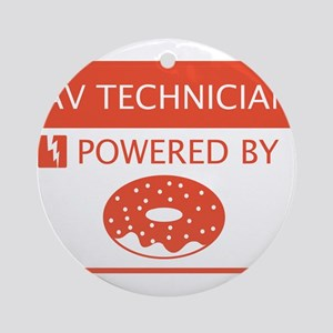 AV Technician Powered by Doughnuts Ornament (Round