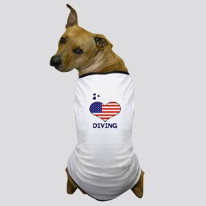 LOVE DIVING STARS AND STRIPES Dog T-Shirt