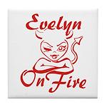 Evelyn On Fire Tile Coaster