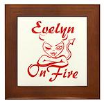 Evelyn On Fire Framed Tile