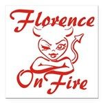 Florence On Fire Square Car Magnet 3