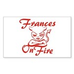 Frances On Fire Sticker (Rectangle)